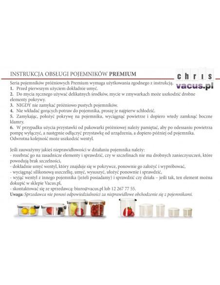 Instrukcja prawidłowego obchodzenia się z pojemnikami Premium